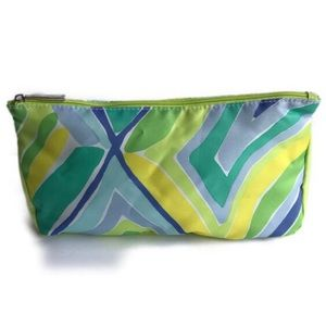 Clinique Cosmetics Makeup Bag Neon Green Blue